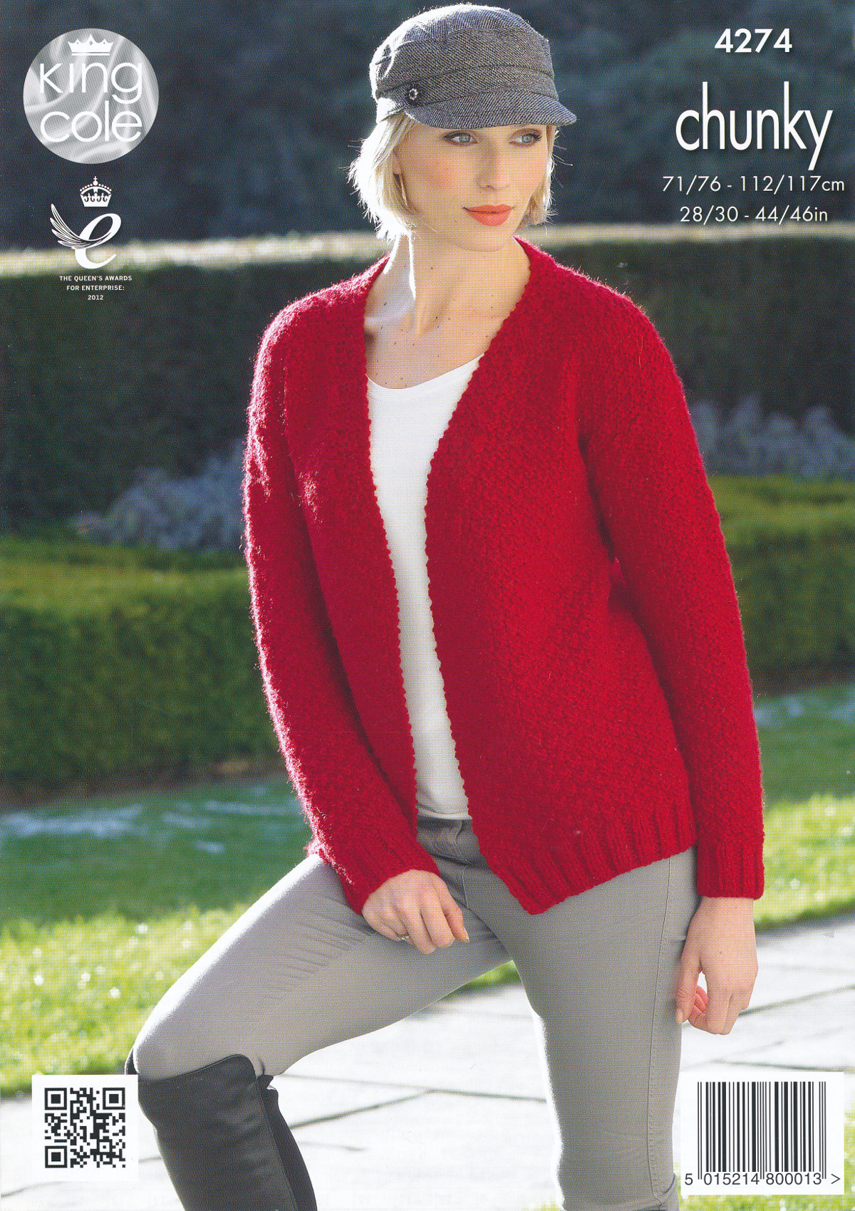 Ladies Chunky Knitting Pattern King Cole Ribbed Cardigan Polo Neck ...