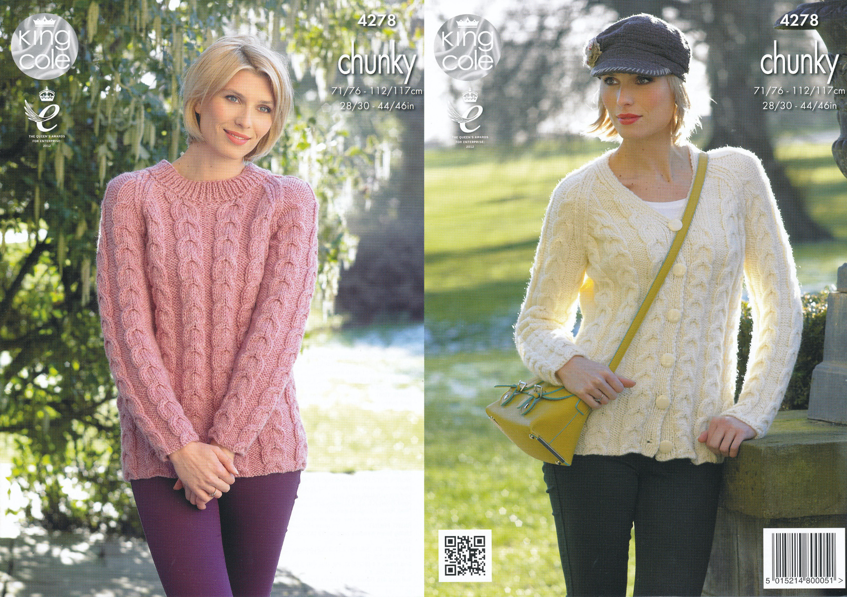 Knitting Jumper Pattern : Womens chunky knitting pattern king cole ladies cable knit