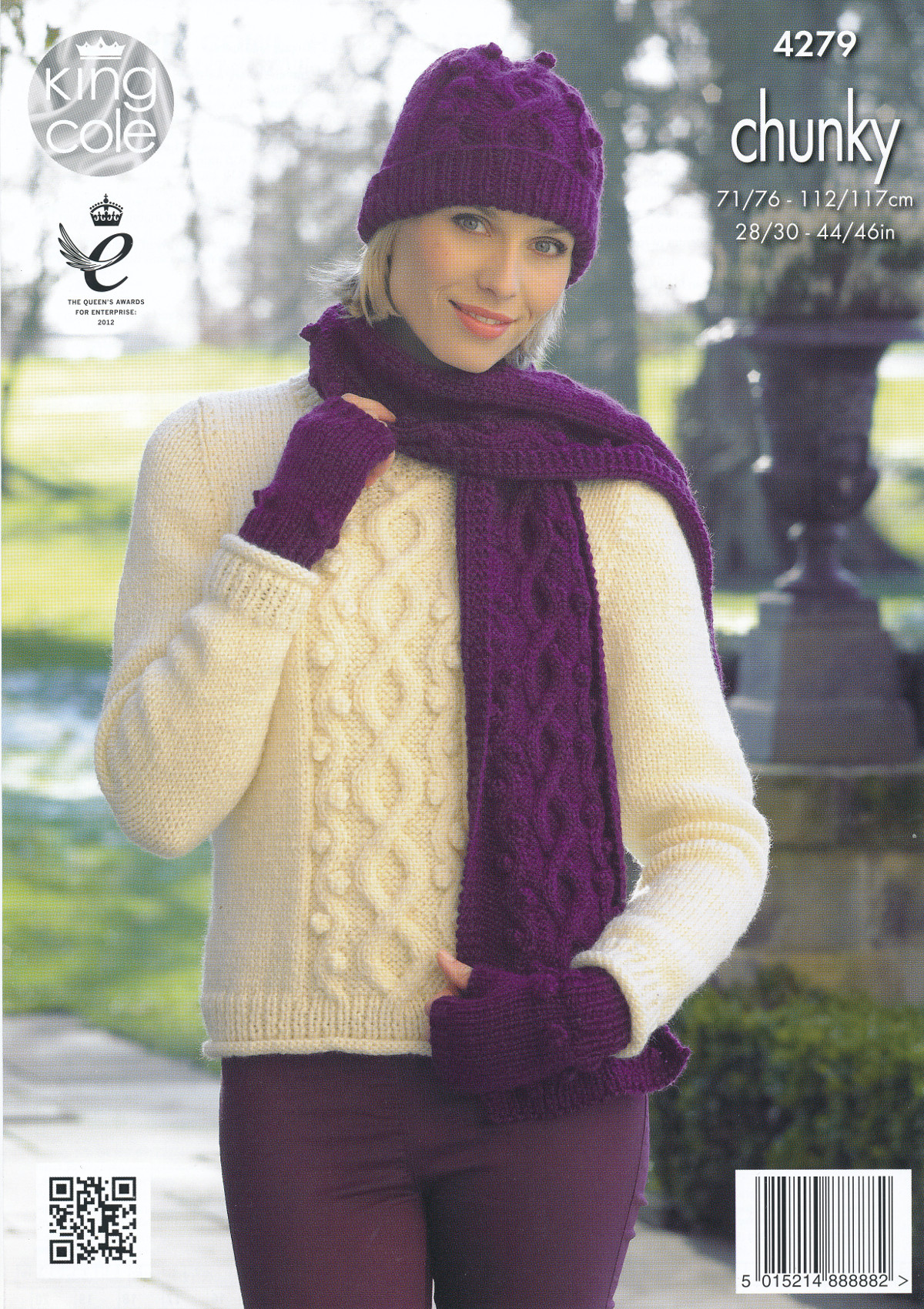 Womens Chunky Knitting Pattern King Cole Jumper Hat Scarf Fingerless ... 72a41d71067