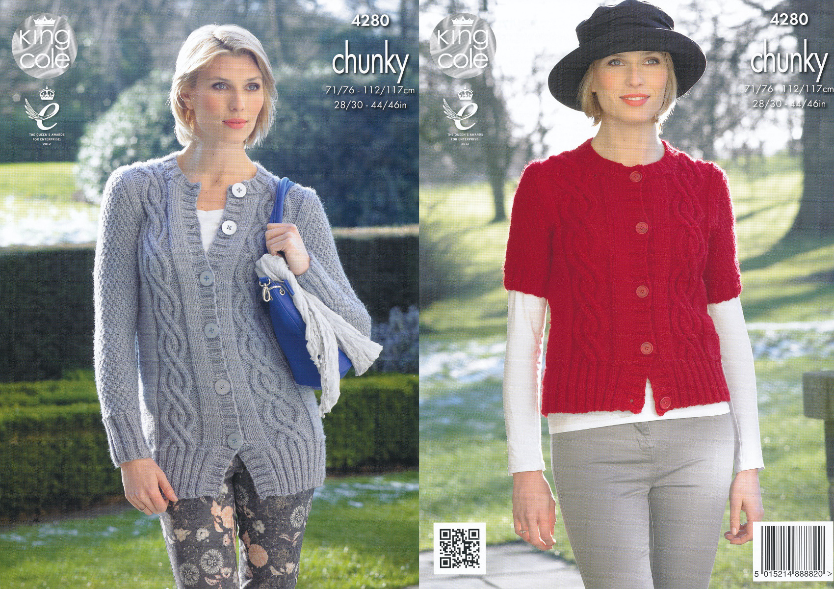 Womens Chunky Knitting Pattern King Cole Ladies Cable Knit Cardigan ...