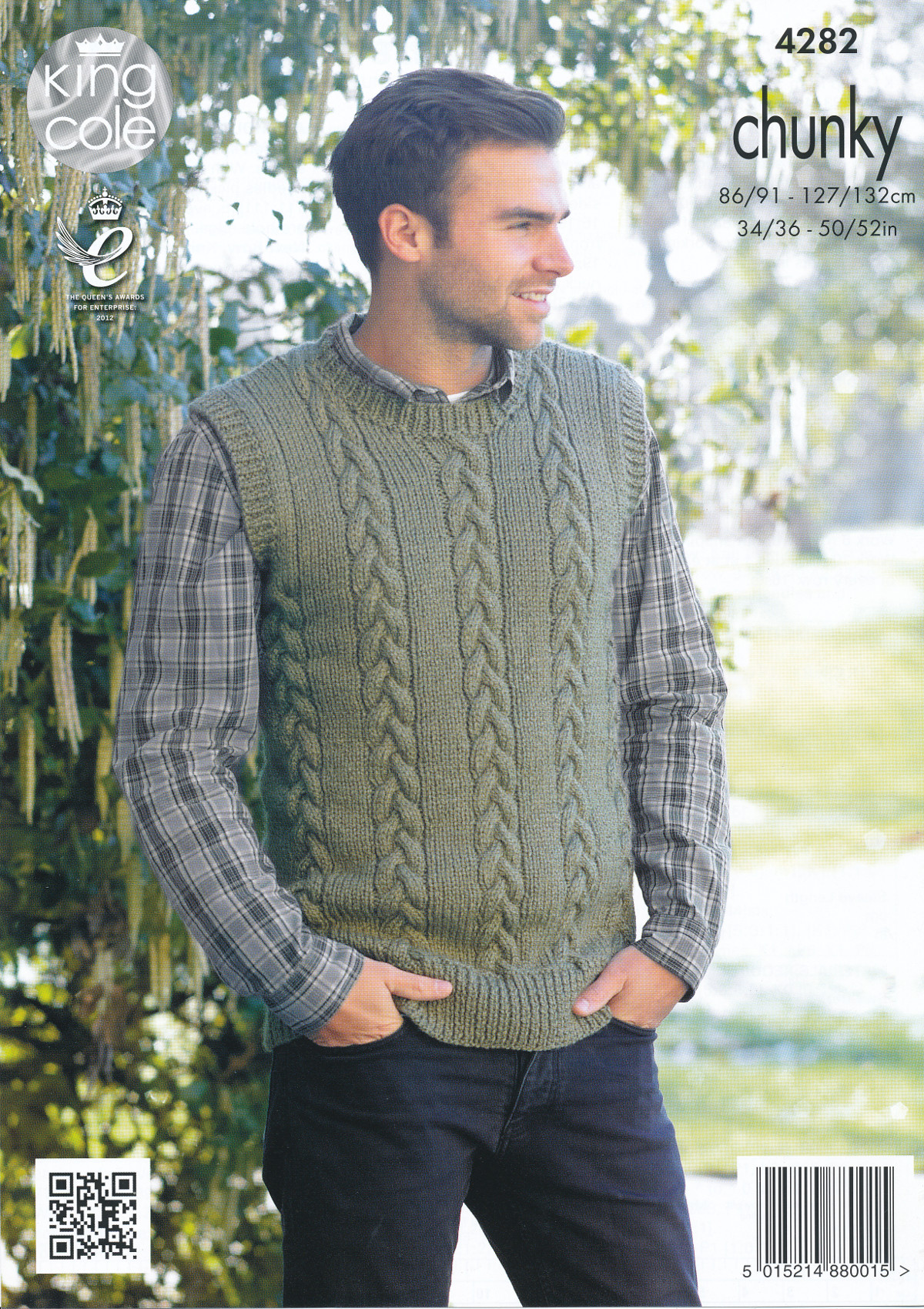 King Cole Magnum Chunky Knitting Pattern Mens Cable Knit Sweater ...