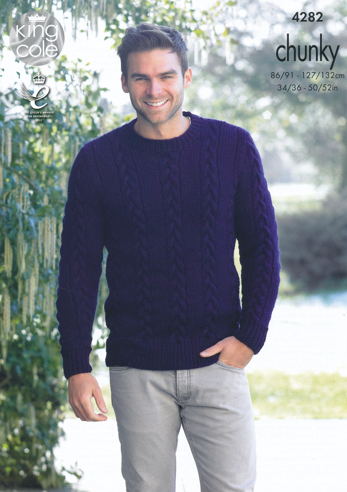 febaf1475f Mens Chunky Knitting Pattern King Cole Cable Knit Sweater Jumper Pullover  4282