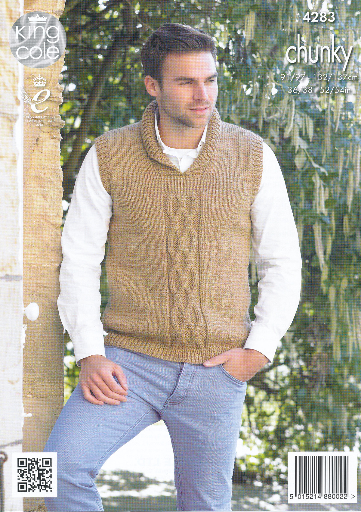 Mens Chunky Knitting Pattern King Cole Cable Knit Sweater Jumper ...