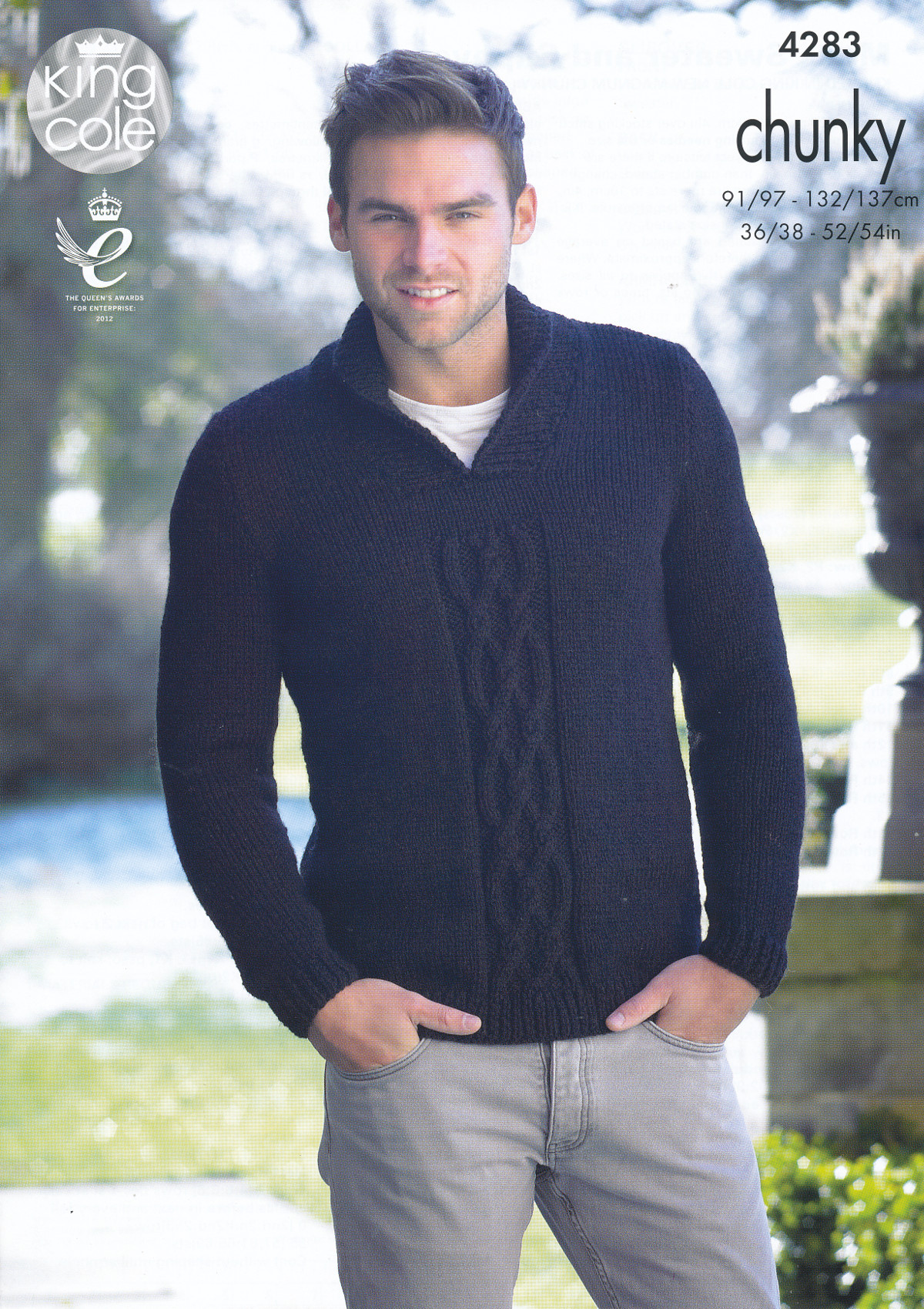 King Cole Magnum Chunky Knitting Pattern Mens Cable Detail Sweater ...