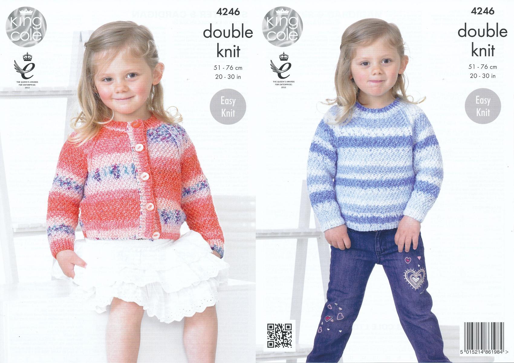 King Cole Splash DK Double Knitting Pattern Kids Girls Cardigan ...