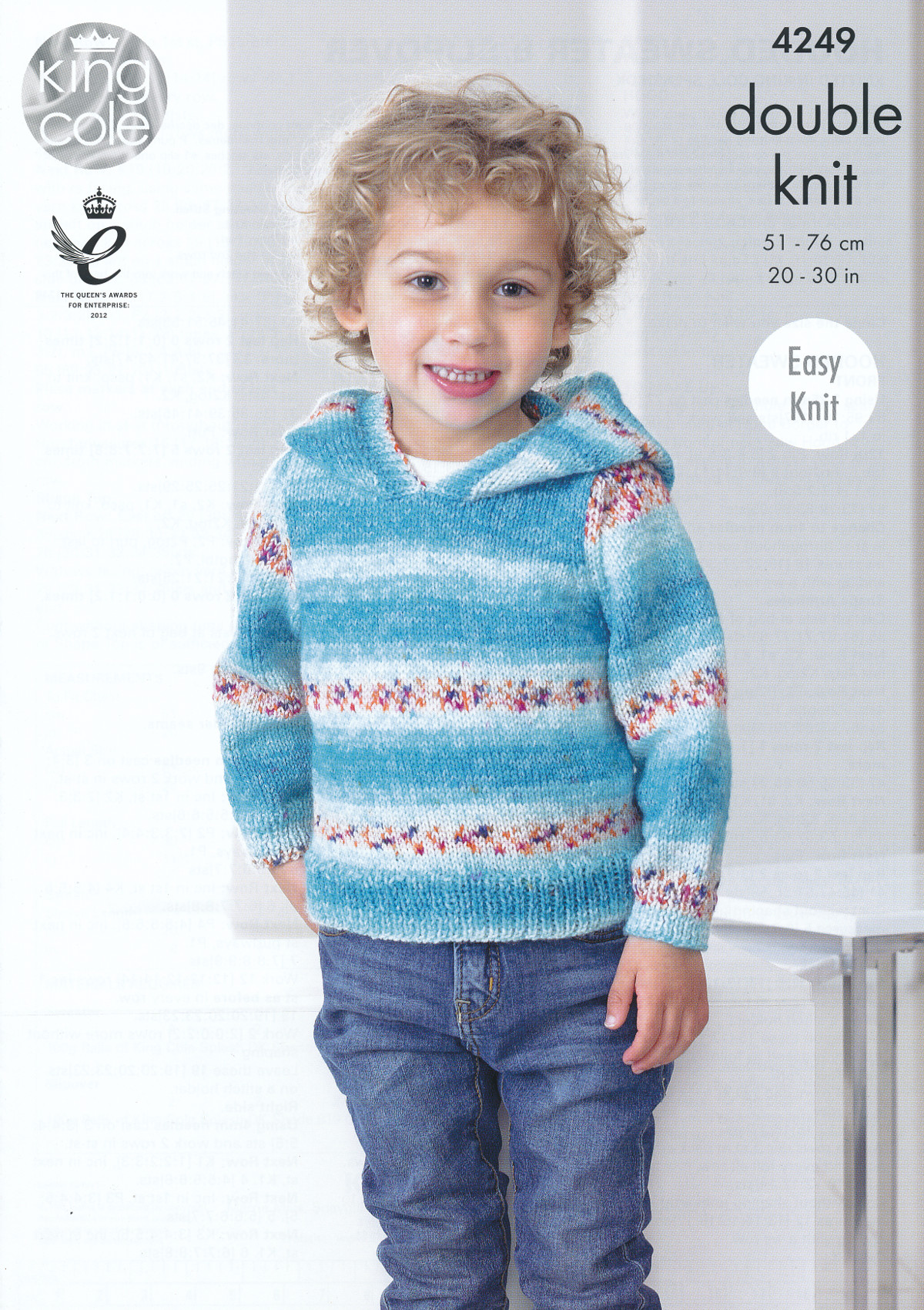 Kids Double Knitting Pattern King Cole Hooded Jumper Pullover Splash ...