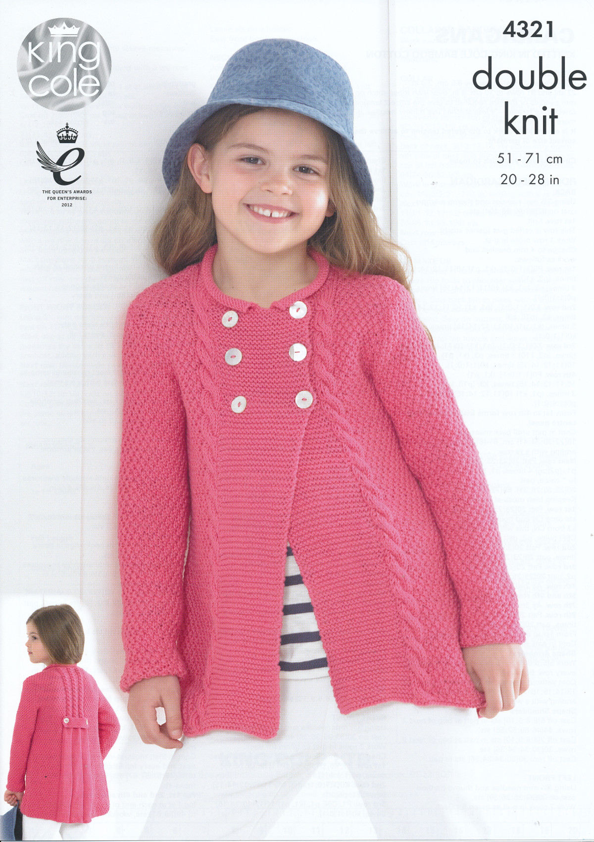 King Cole Double Knitting DK Pattern Girls Round Neck Collared ...