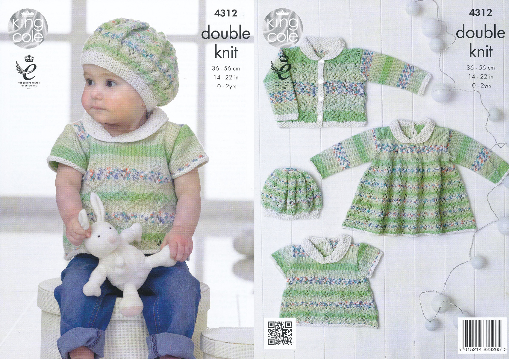 King Cole Knitting Pattern 5562~Layette in Easy Lace~4ply~12-20/""