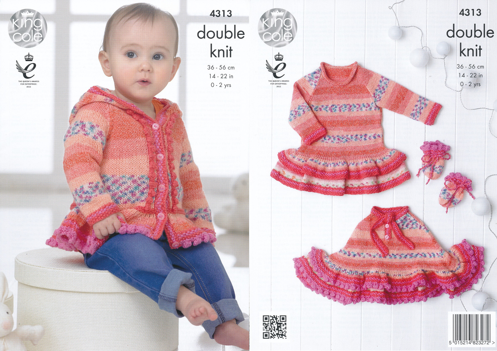 Baby Drifter DK Knitting Pattern King Cole Hoodie Dress Poncho ...