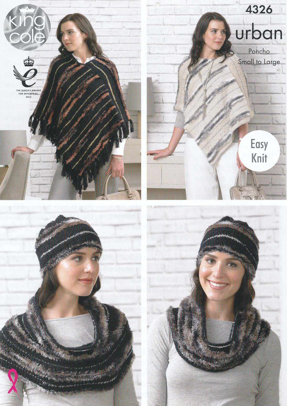 King Cole Urban Knitting Pattern Ladies Easy Knit Ponchos Hat Snood ...