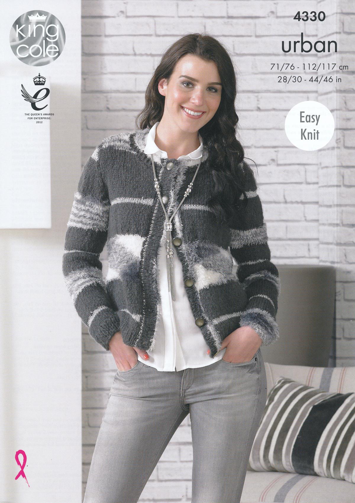Womens Knitting Pattern King Cole Urban Easy Knit Cardigan Short ...