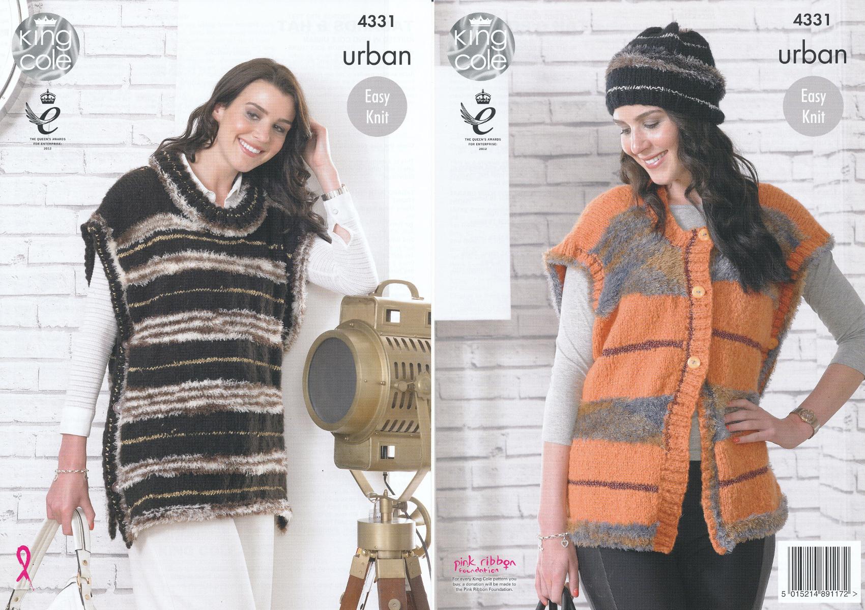 2488826f5477b5 King Cole Urban Knitting Pattern Ladies Easy Knit Cap Sleeve Tabards   Hat  4331