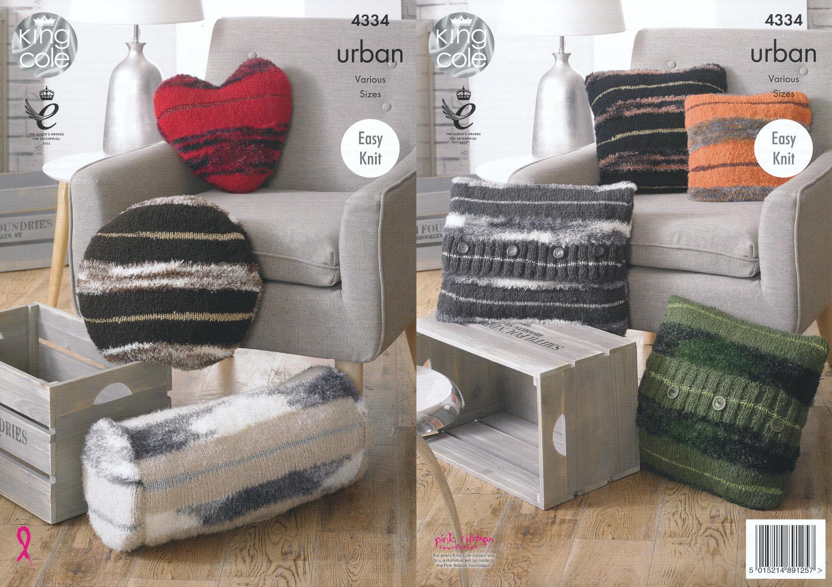 King cole urban knitting pattern cushions round square tube or king cole urban knitting pattern cushions round square tube or heart shaped 4334 bankloansurffo Gallery