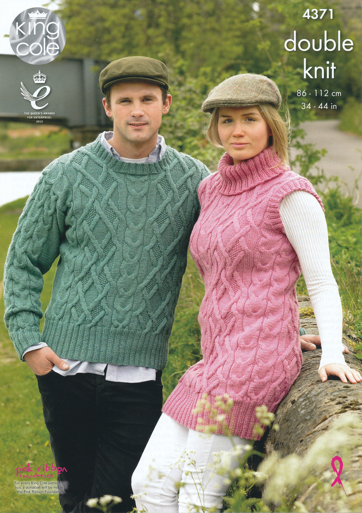 Womens Mens Cable Knit Sweater Tunic Double Knitting Pattern DK King ...