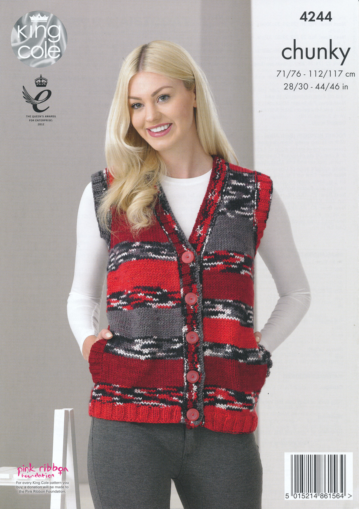 Ladies Chunky Knitting Pattern King Cole Womens Cardigan Waistcoat Pockets 42...