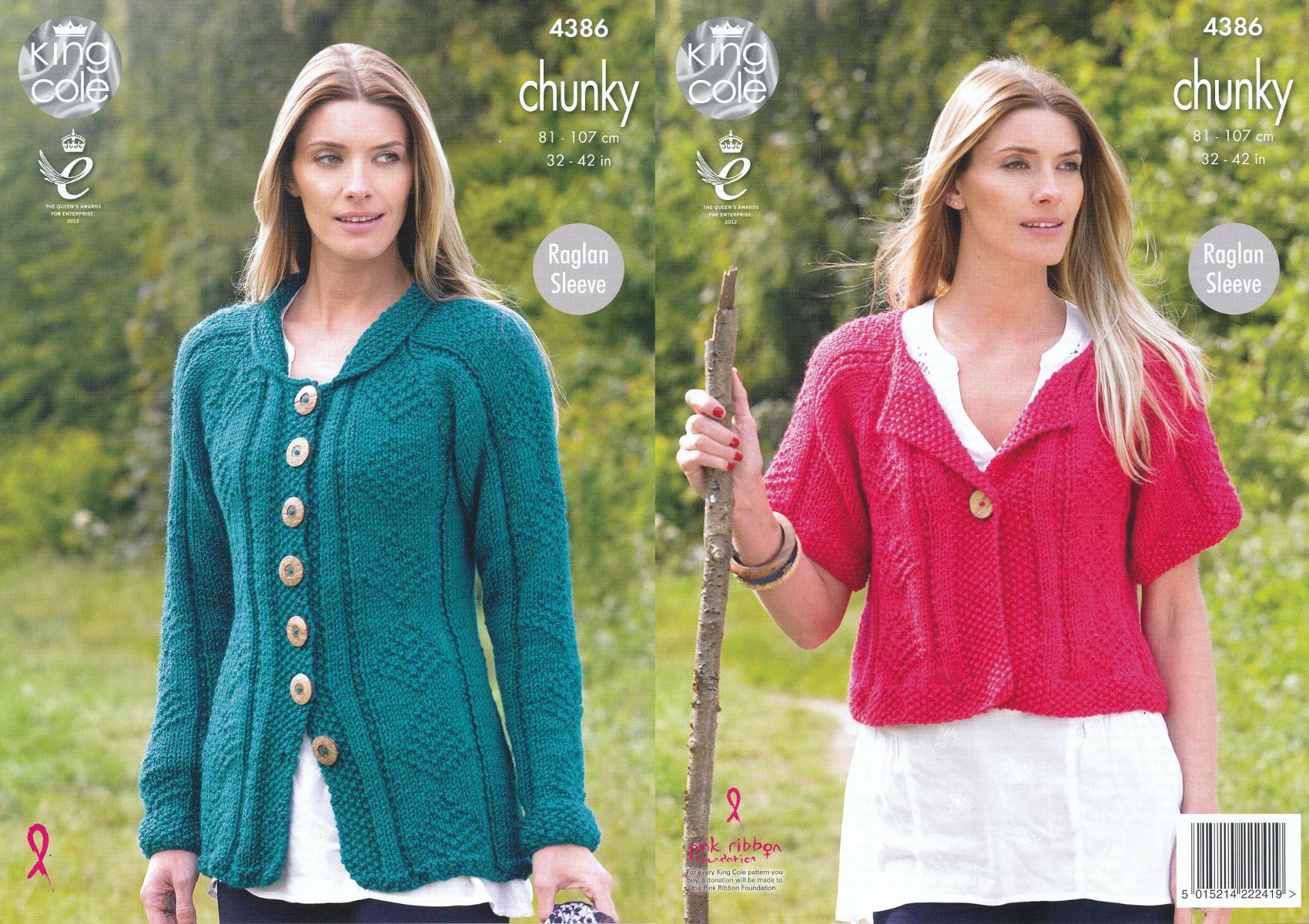 Ladies Chunky Knitting Pattern King Cole Womens Raglan Sleeve ...
