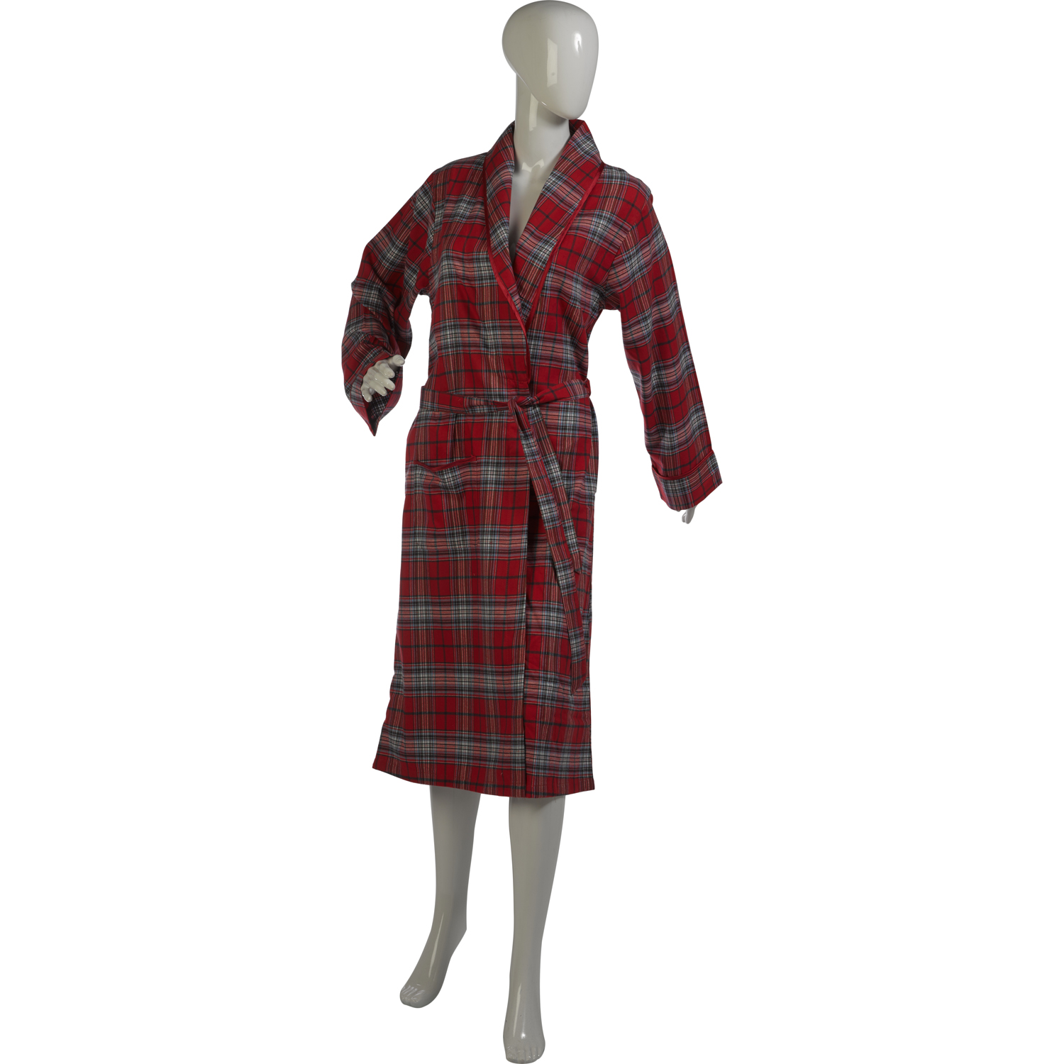21f54a07d3 These ladies lightweight dressing gowns have a red tartan design throughout  with a satin style trim