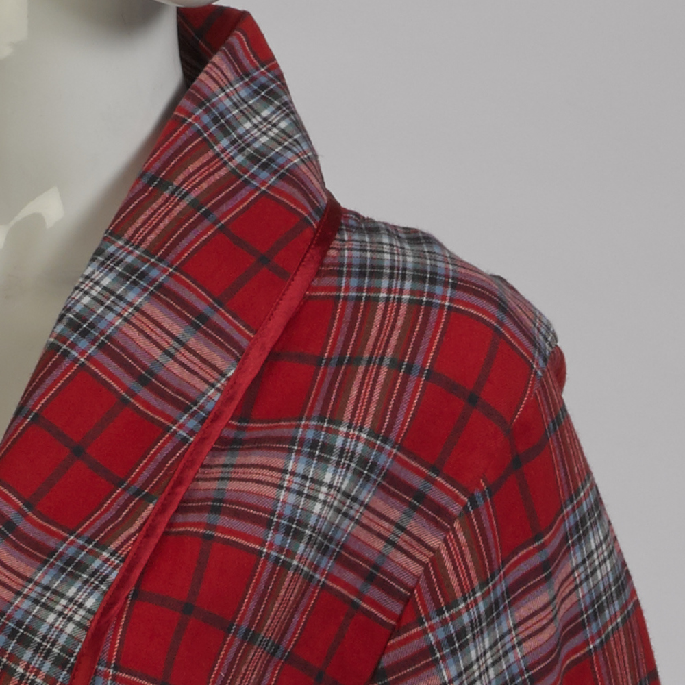 5f1b70947f Item Description. These ladies soft combed cotton robes have a red tartan  ...