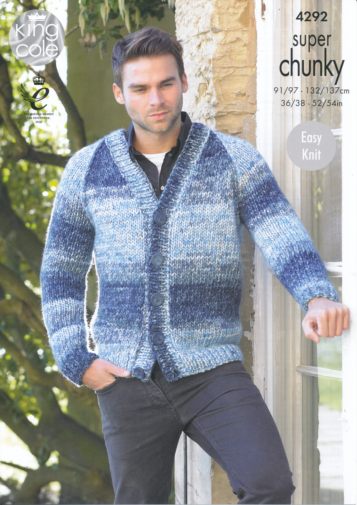 King Cole Mens Super Chunky Knitting Pattern V Neck Sweater ...