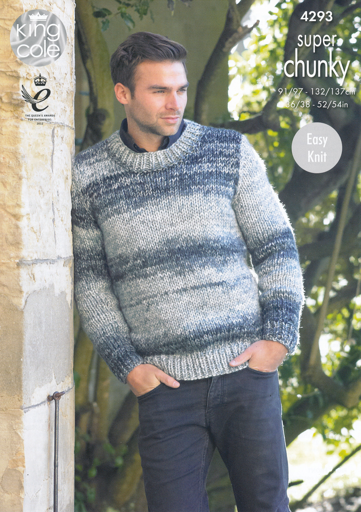 4bed7f7c3 Item Description. This easy knit King Cole super chunky knitting pattern  leaflet 4293 will instruct you on how to create a men s round neck sweater  and V ...