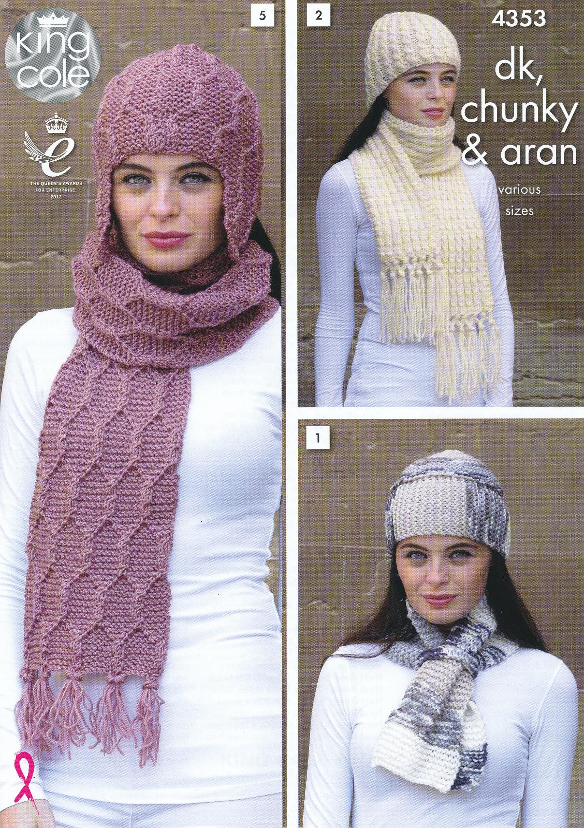 King Cole Ladies DK Aran Chunky Knitting Pattern Womens Scarf & Hat ...