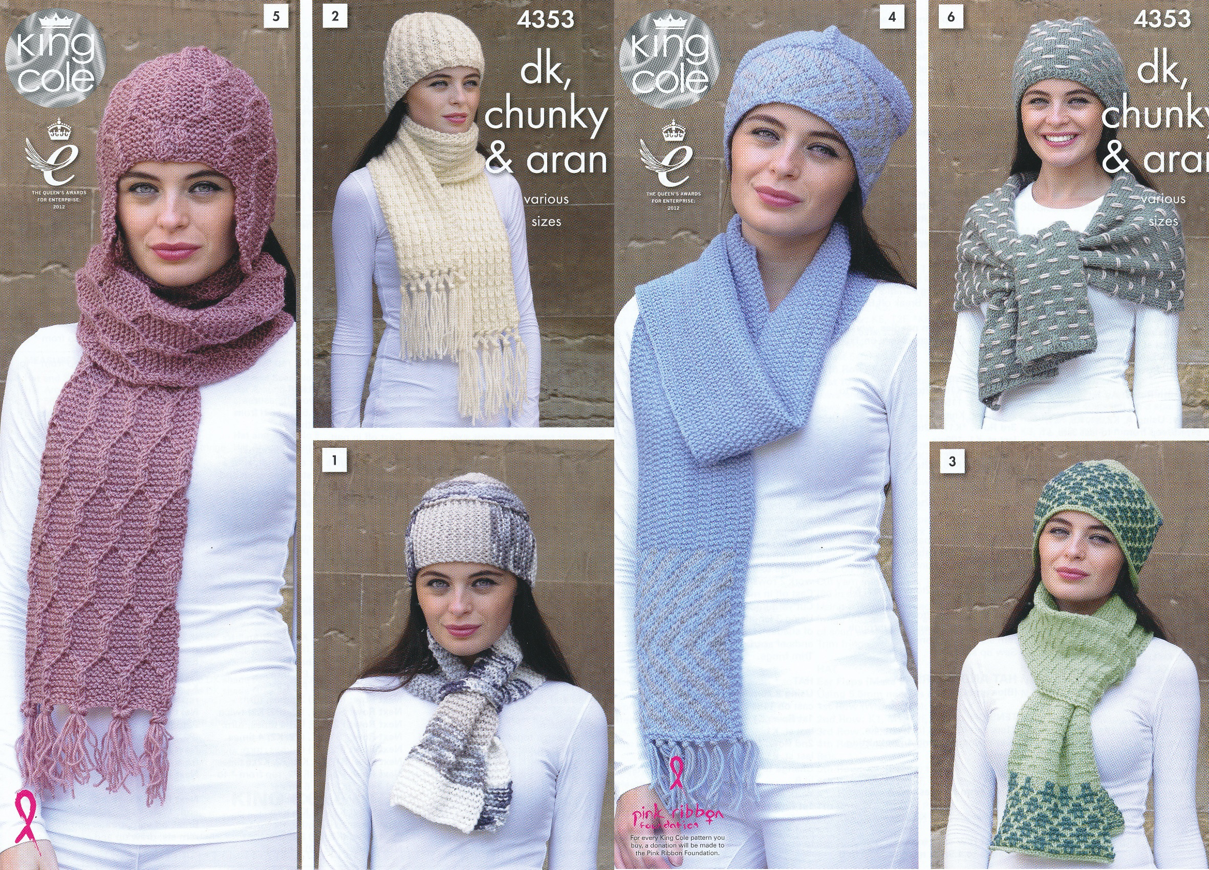 Ladies DK Chunky Aran Knitting Pattern King Cole Womens Winter ... 87846c93bce
