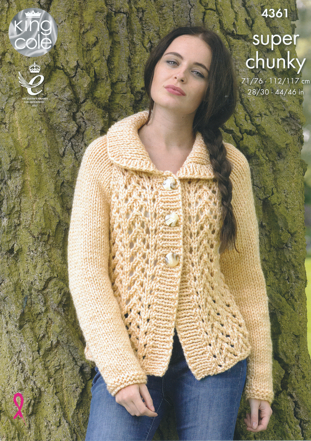 Lace Effect Sweater Cardigan Knitting Pattern King Cole Ladies Super ...