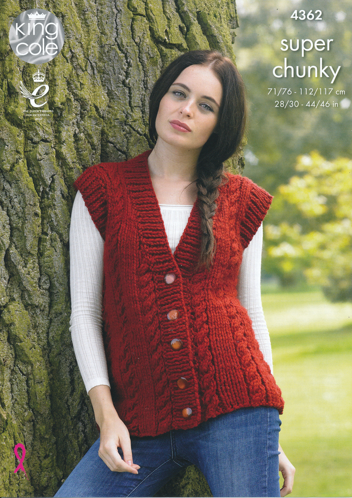 King Cole Ladies Super Chunky Knitting Pattern Cable Knit Waistcoat ...