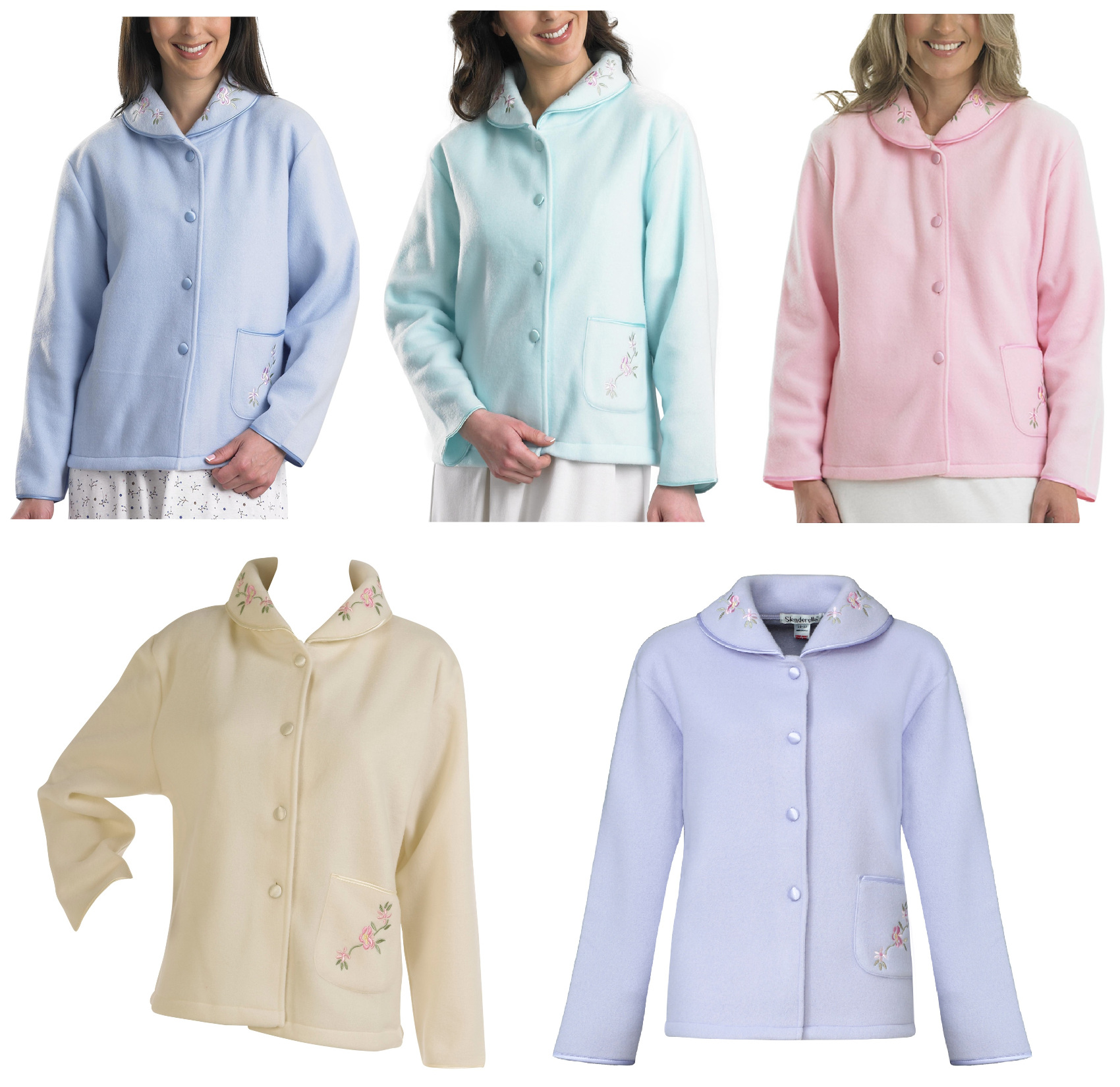 These ladies polar fleece bed jackets are a button through style with a peter  pan collar and pretty floral embroidery to the pocket and collar. 336425510
