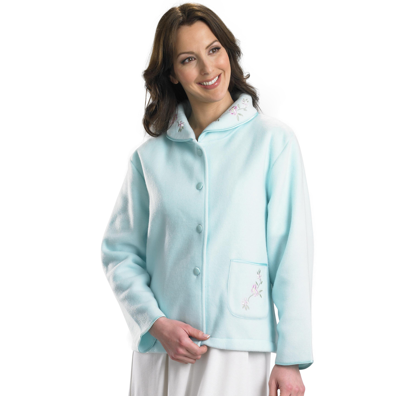 Womens Polar Fleece Bed Jacket Slenderella Button up Floral ...