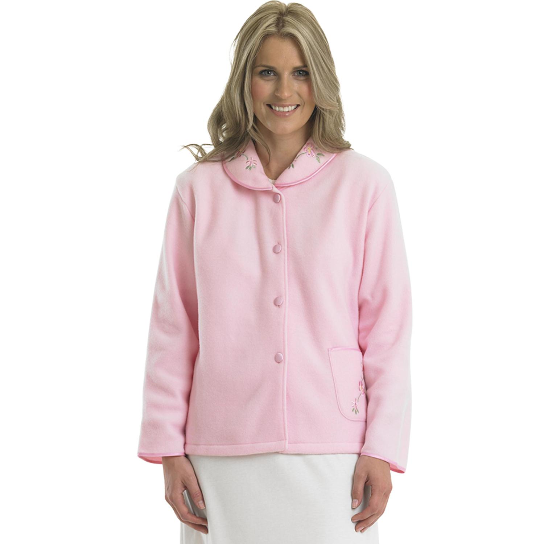 f262dfb3746 Womens Polar Fleece Bed Jacket Slenderella Button up Floral ...