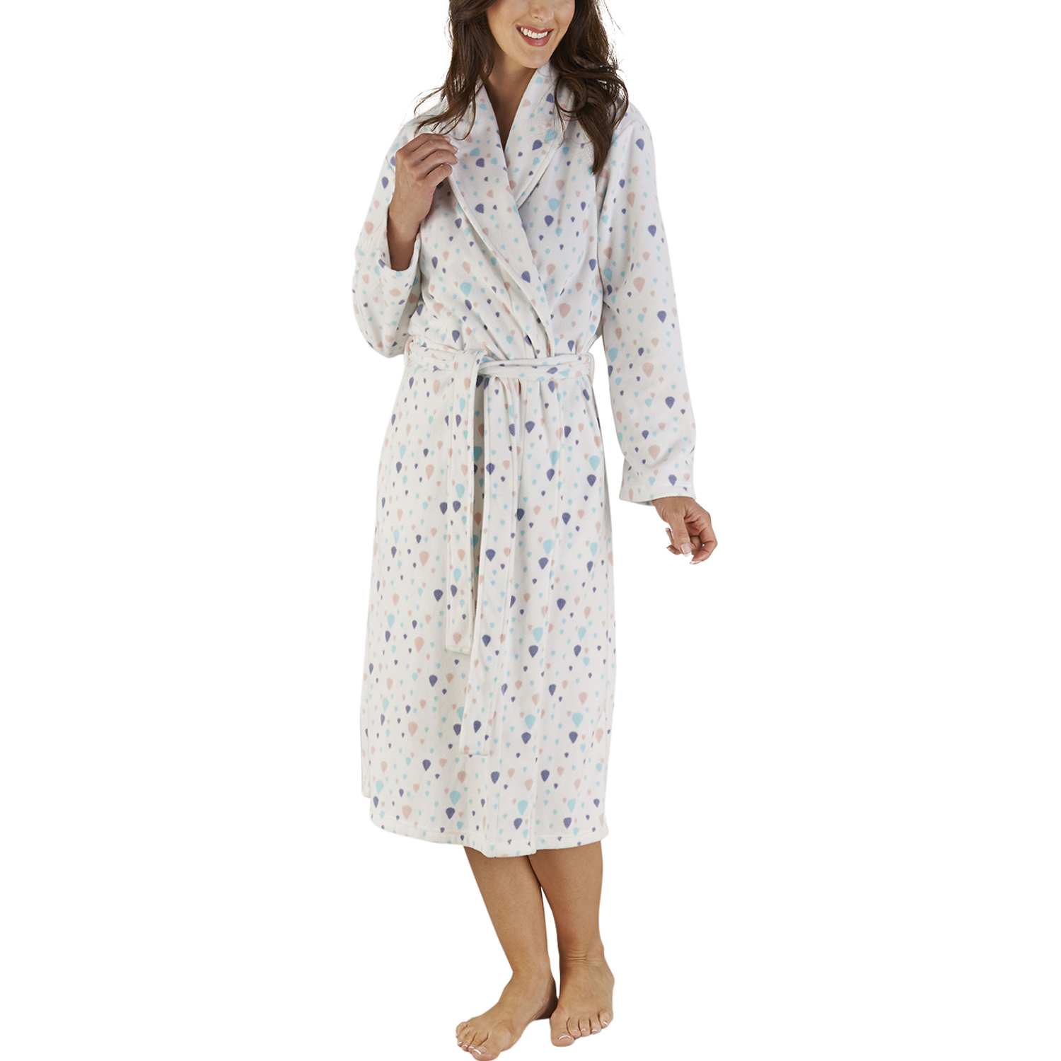 8e666e5561 These luxurious ladies soft micro fleece dressing gowns have a fun balloon  print throughout and would be perfect for keeping you warm during the  colder ...