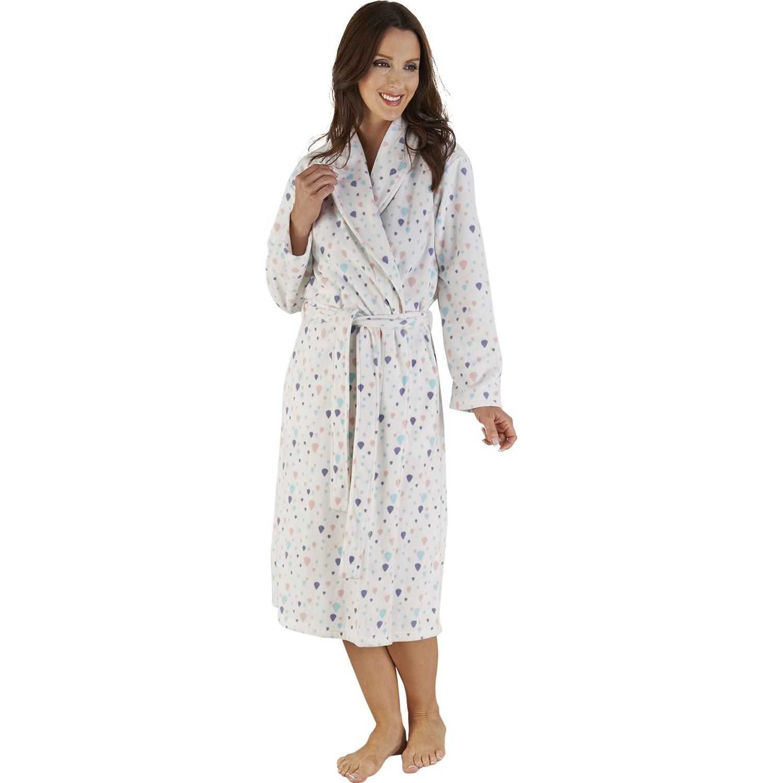 f563d71b9e Bathrobe Ladies Soft Micro Fleece Dressing Gown Slenderella Womens Balloon  Print