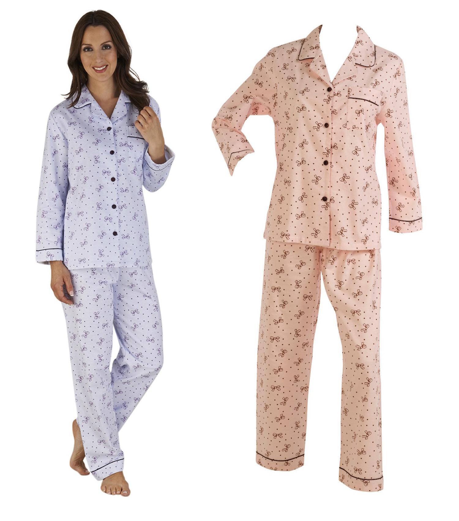 Details about Ladies Soft Winceyette Brushed Cotton PJs Set Slenderella  Bows Polka Dot Pyjamas 1a08cc9cf