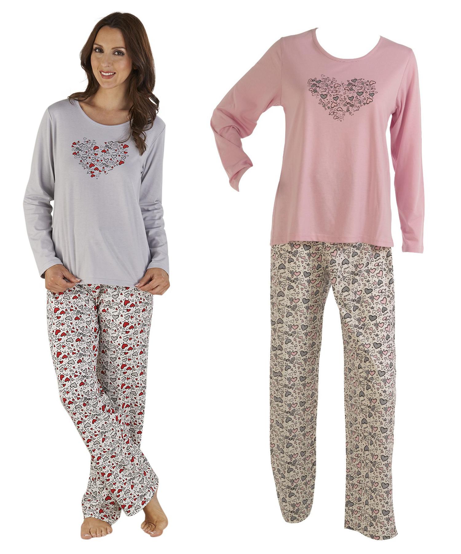 d3e715be89 Love Heart Print Ladies PJs Set Slenderella Gaspe Polycotton Nightwear  Pyjamas. Smiley face. These ladies soft jersey pyjama sets have a fun heart  pattern ...
