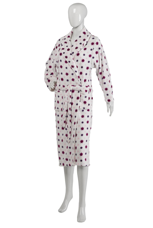 0140658bc3 Womens Slenderella Star Print Dressing Gown Soft Coral Fleece Ladies ...