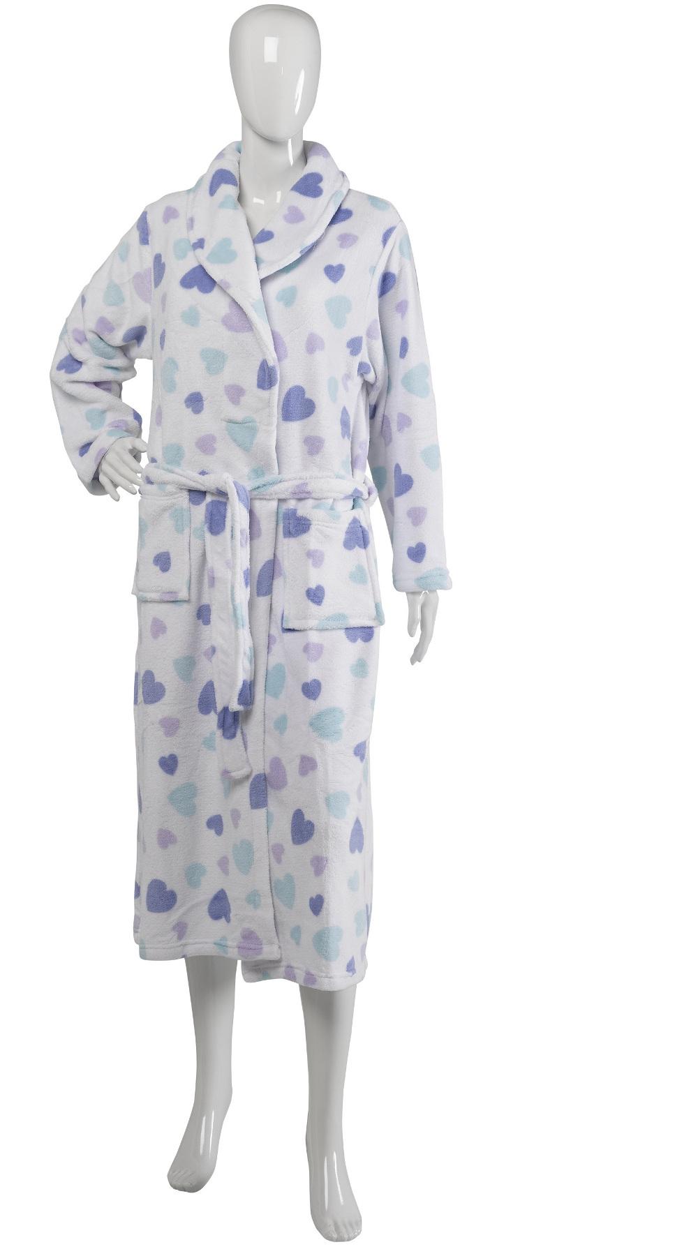 356faa3a09 Slenderella Womens Soft Fleece Heart Dressing Gown Ladies Shawl ...