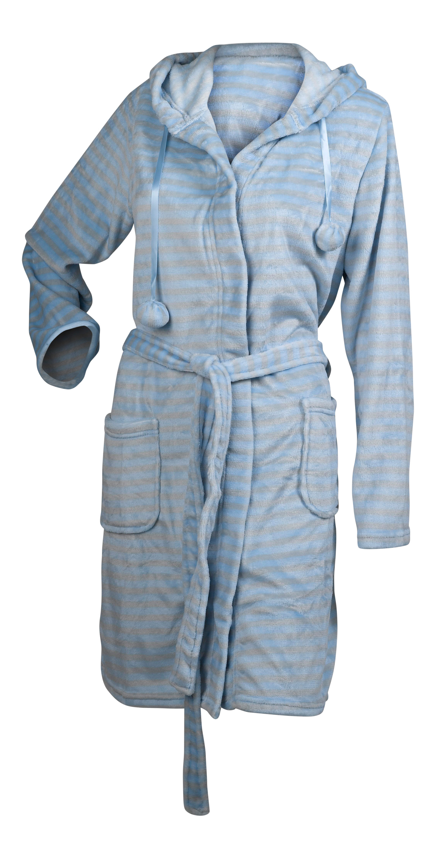 Ladies Dressing Gown Super Soft Striped Fleece Womens Hooded Wrap Around  Robe 16860f5c0