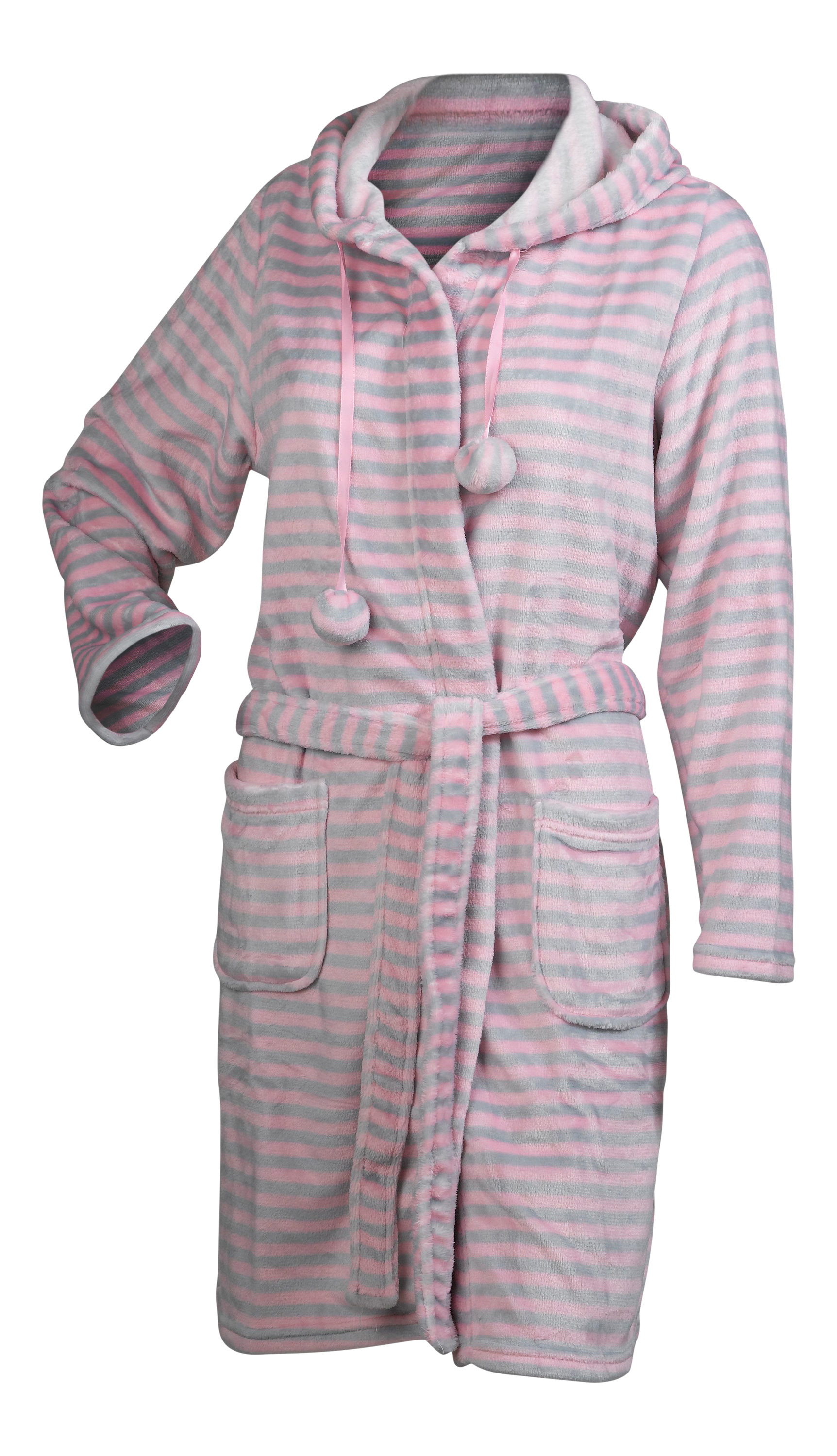 Ladies Dressing Gown Super Soft Striped Fleece Womens Hooded Wrap ... e3764b656