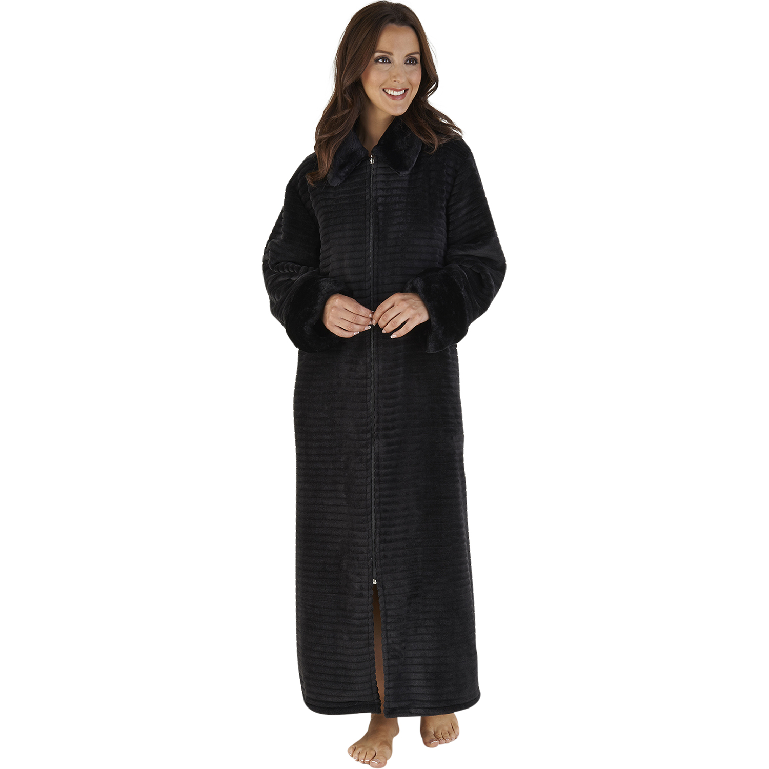 Womens Ribbed Style Dressing Gown Slenderella Faux Fur Collar ...