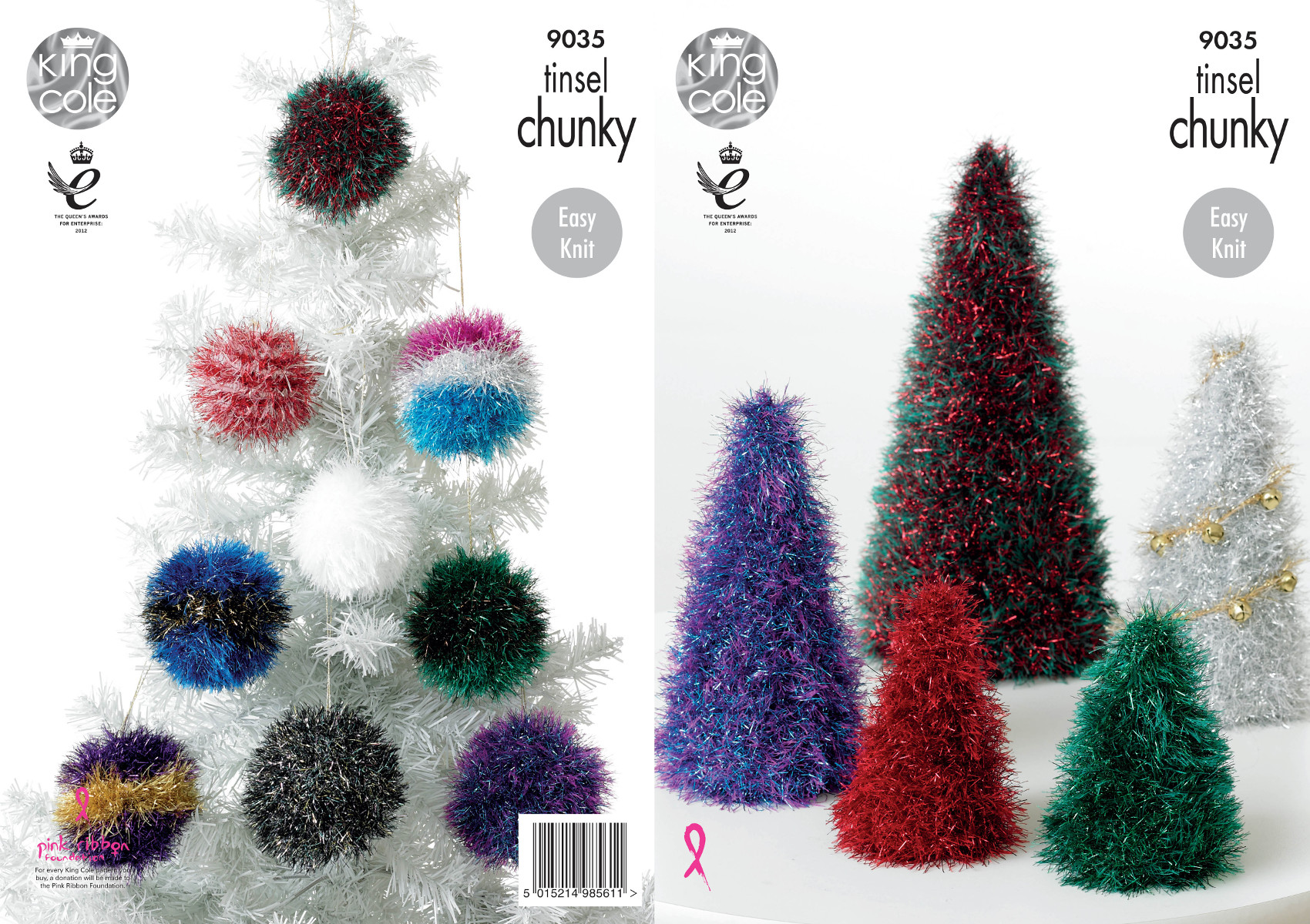 King Cole Tinsel Chunky Decorations Knitting Pattern Christmas Tree Baubles 9...