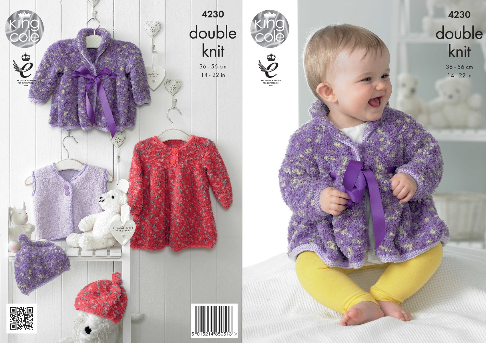 Baby clothes set knitting pattern king cole cuddles dk dress coat item description this double knitting pattern leaflet 4230 by king cole bankloansurffo Gallery