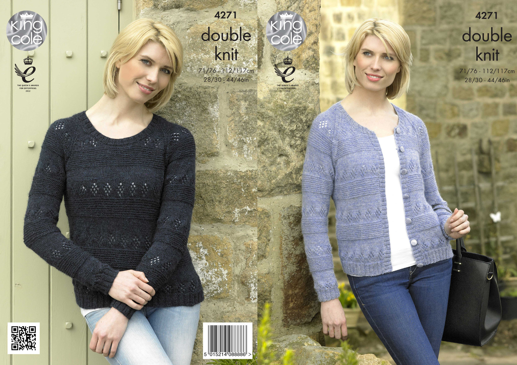 Womens Round Neck Sweater & Cardigan Double Knitting Pattern King ...