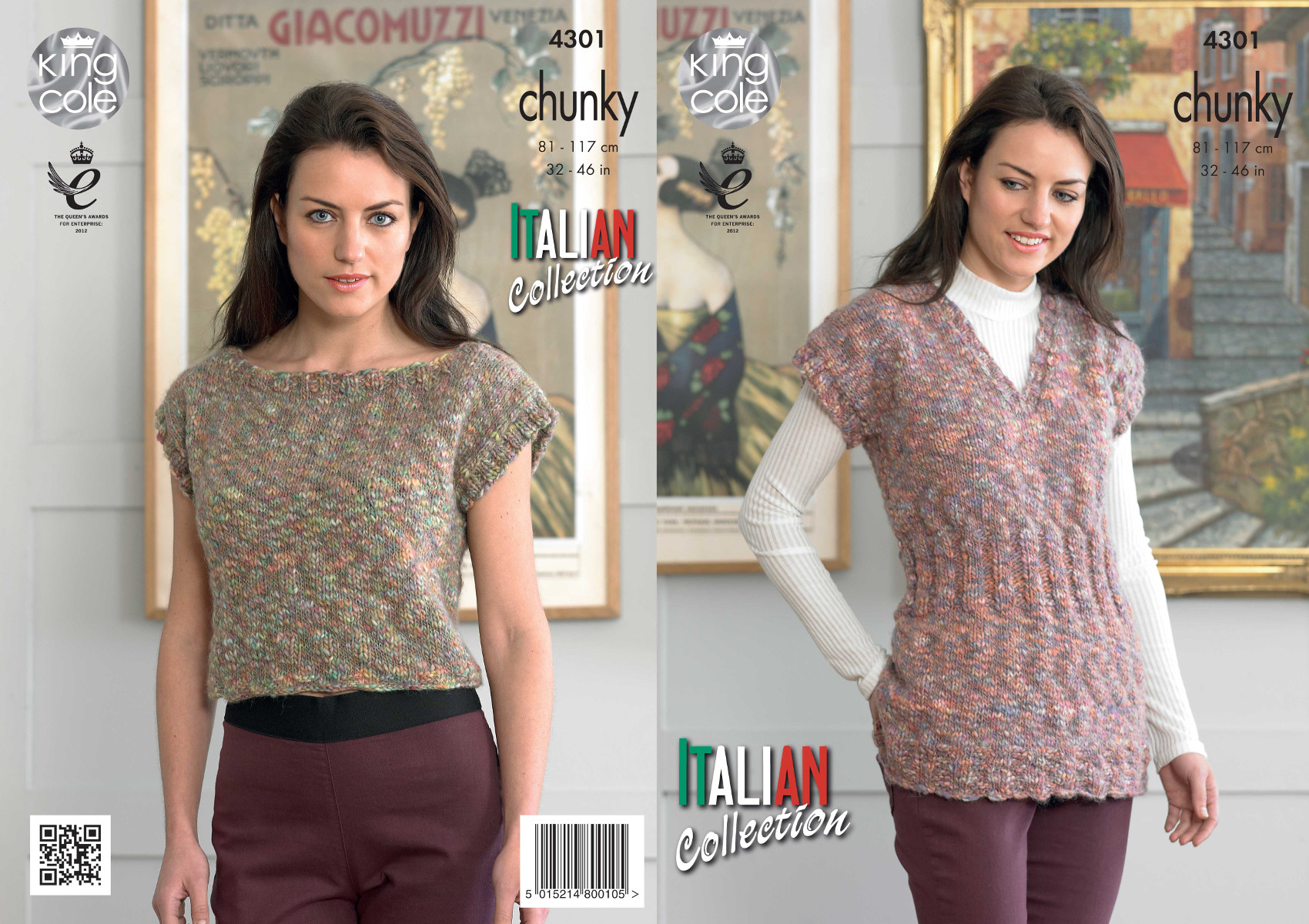 Womens Capped Sleeve Tunic & Top Knitting Pattern King Cole Verona ...