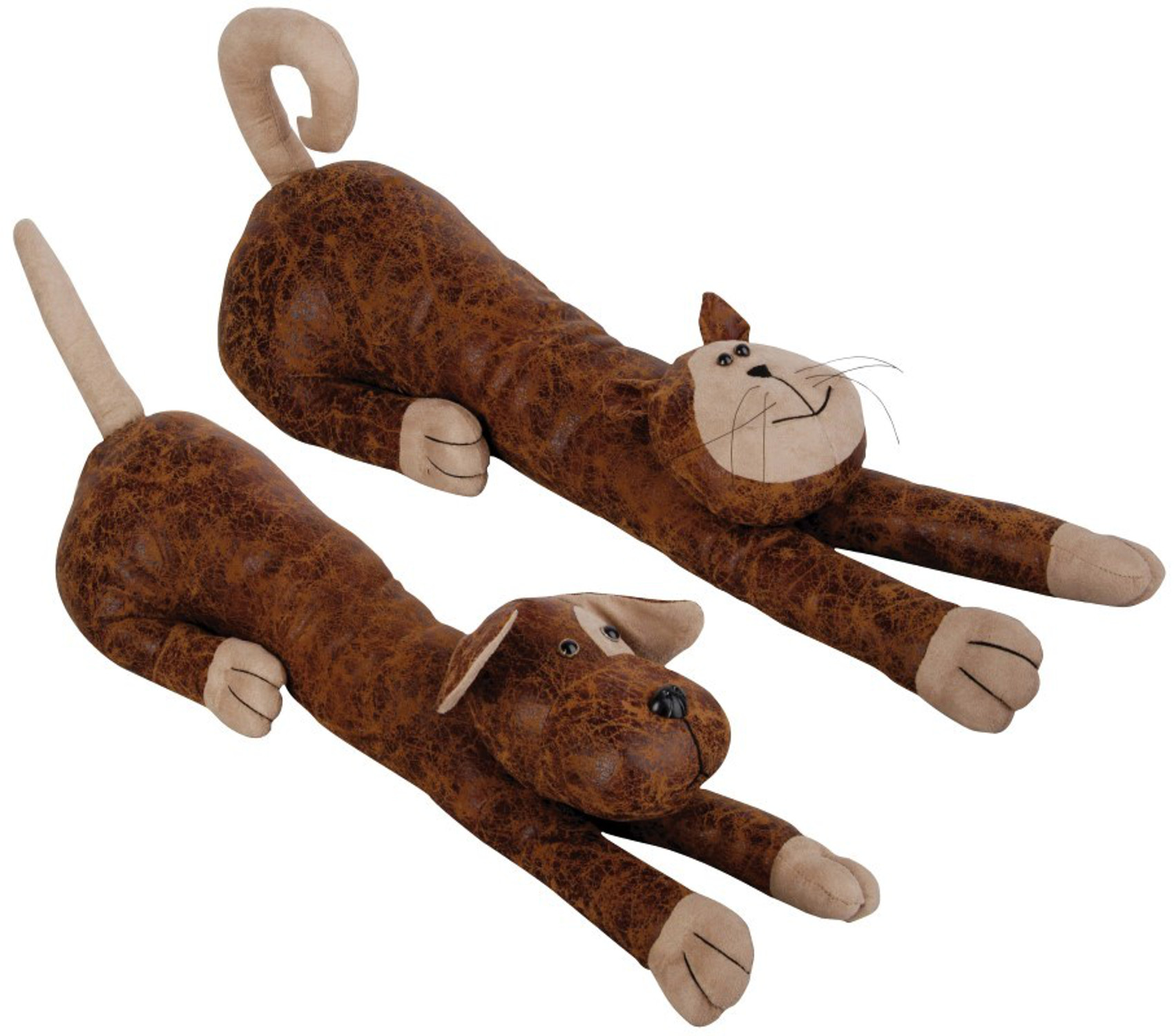Faux Leather Suede Animal Draught Excluder Heavy Door Stop Draft