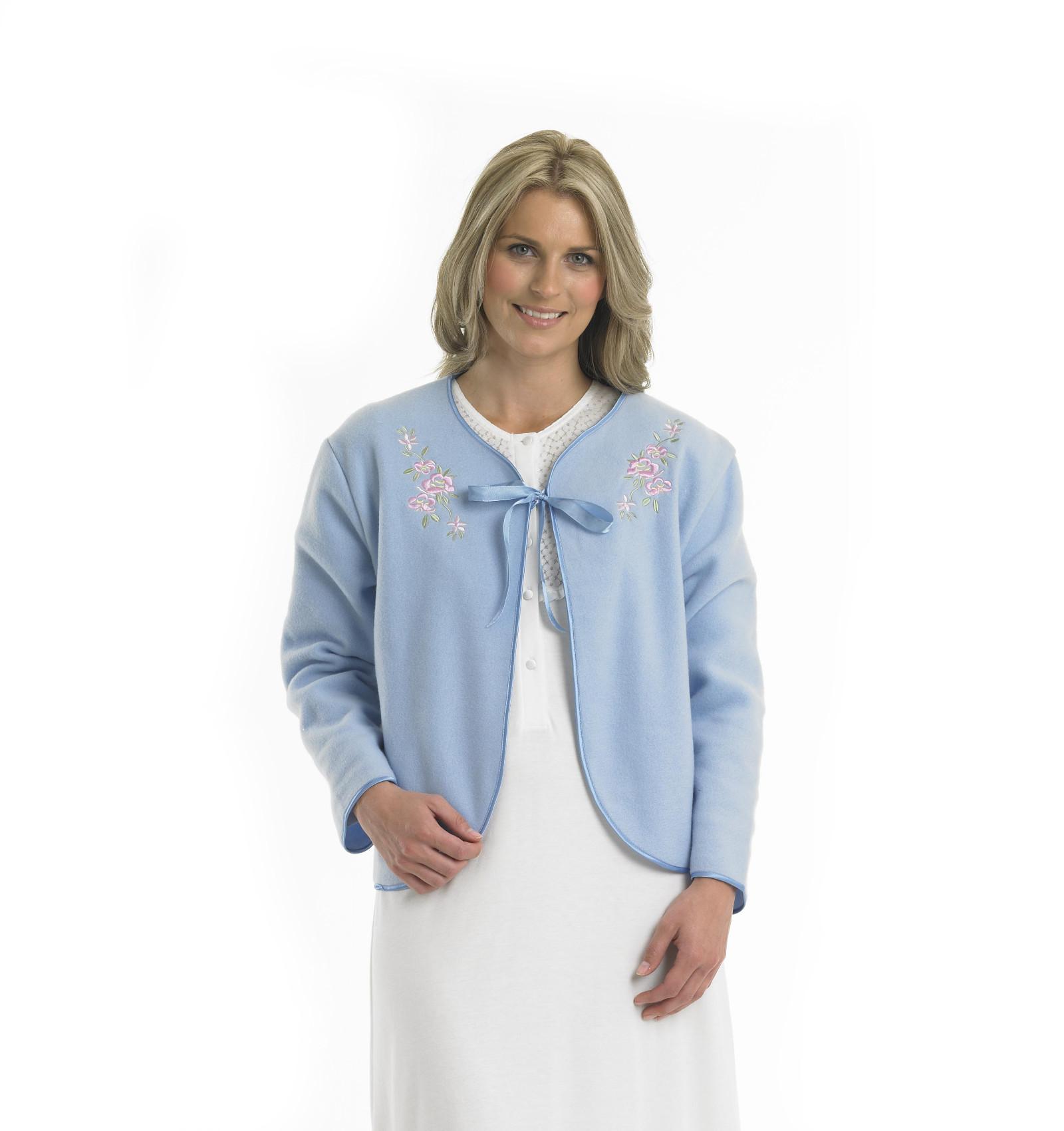 Blue Slenderella Embroidered Fleece Tie Bed Jacket