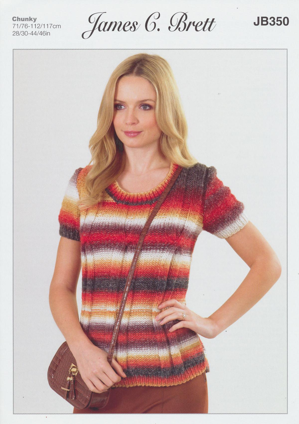 James Brett Womens Chunky Knitting Pattern Short Sleeve Sweater ...