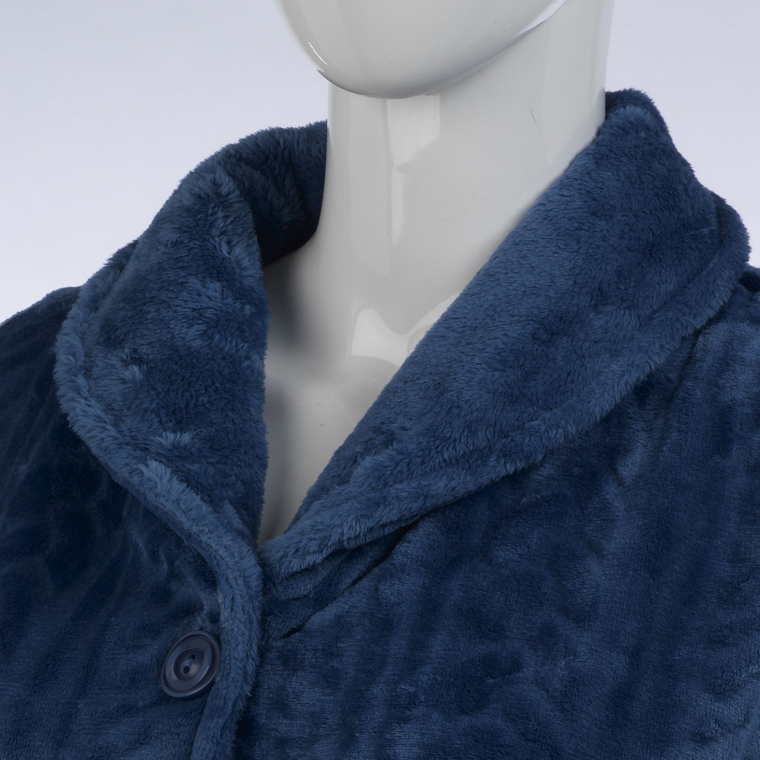 Slenderella Ladies Soft Fleece Button Up Bed Jacket Cable Style Housecoat Pocket