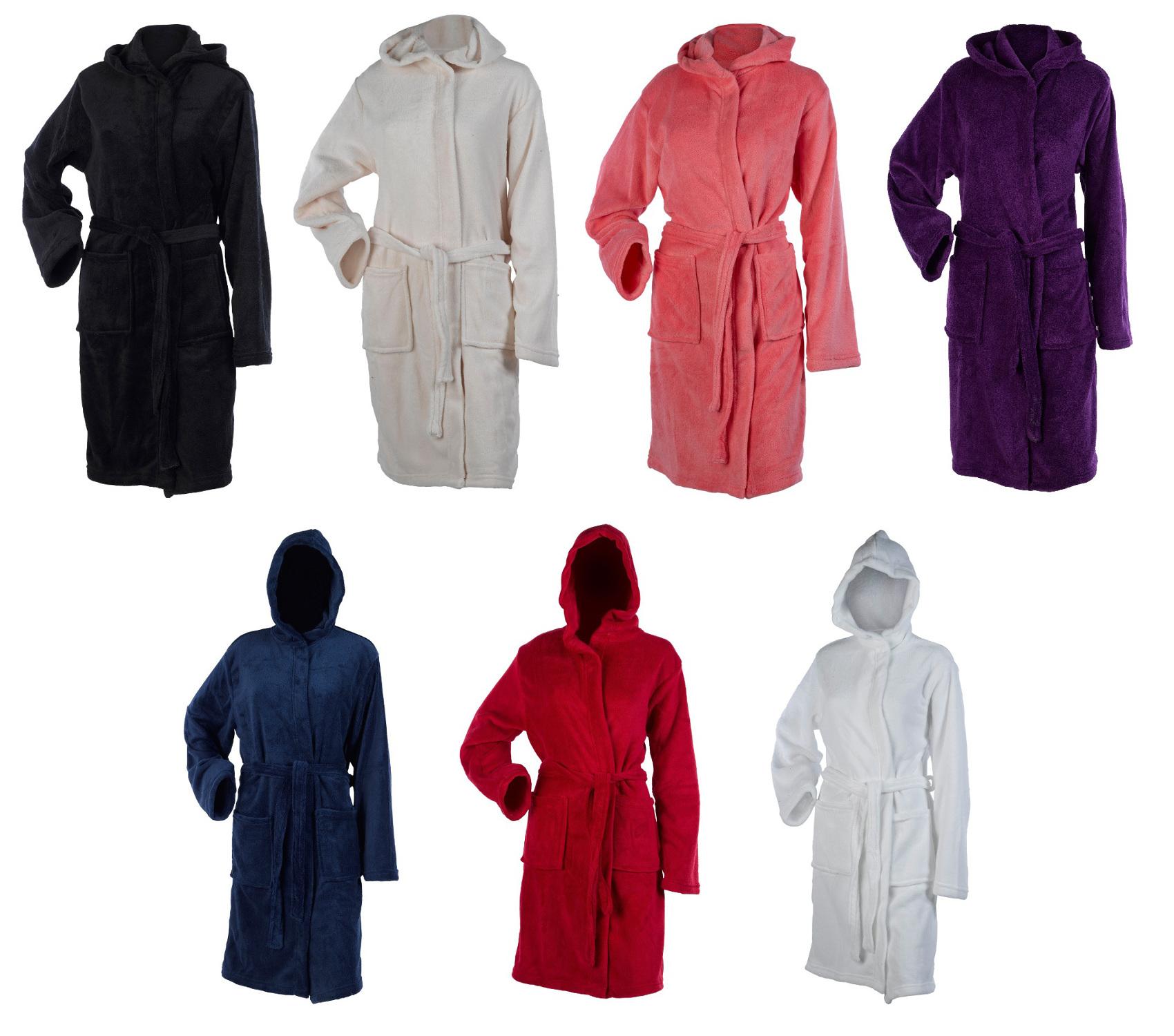Details about Womens Hooded Wrap Around Dressing Gown Soft Coral Fleece  Plain Bathrobe Medium 623a82f3c