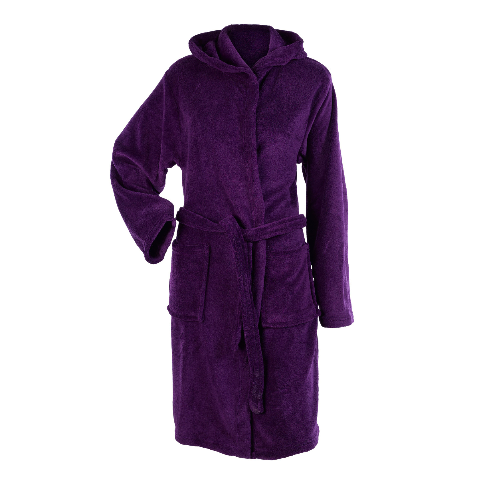 Dressing Gowns And Robes: Womens Hooded Wrap Around Dressing Gown Soft Coral Fleece